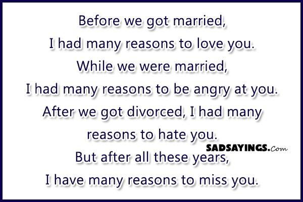 Divorced but still in love