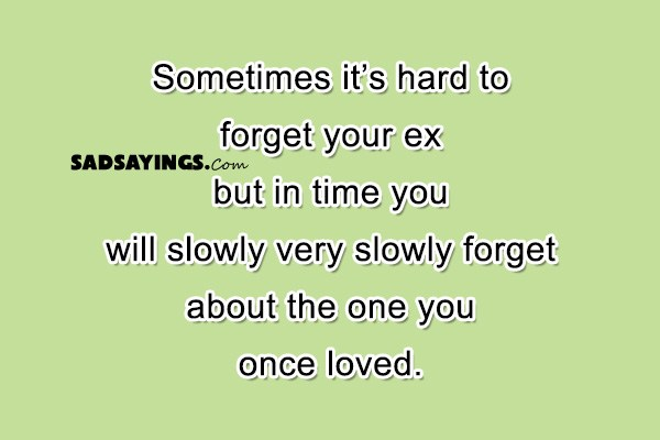 Sometimes it's hard to forget your ex but in time you will slowly very slowly forget about the one you once loved.