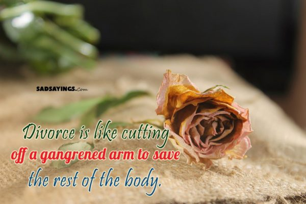 Divorce is like cutting off a gangrened arm to save the rest of the body.