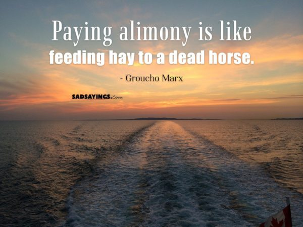 Paying alimony is like feeding hay to a dead horse