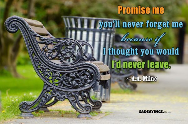 Promise me you'll never forget me because if I thought you would I'd never leave. ~A.A. Milne