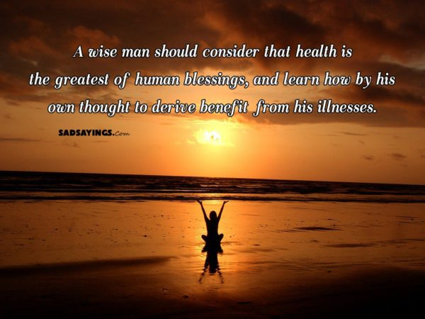 A wise man should consider that health is the greatest of human blessings, and learn how by his